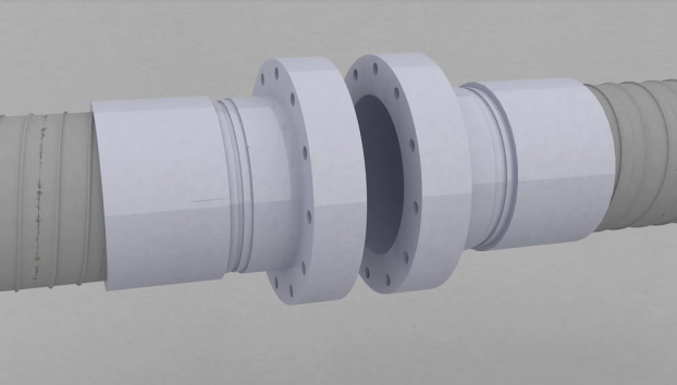 Onshore pipeline with flanged end fitting